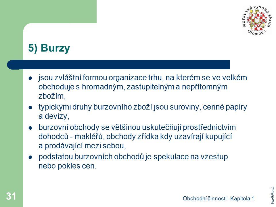 Obchodní činnosti - Kapitola 1 31 5) Burzy jsou zvláštní formou organizace trhu, na kterém se ve velkém obchoduje s hromadným, zastupitelným a nepříto