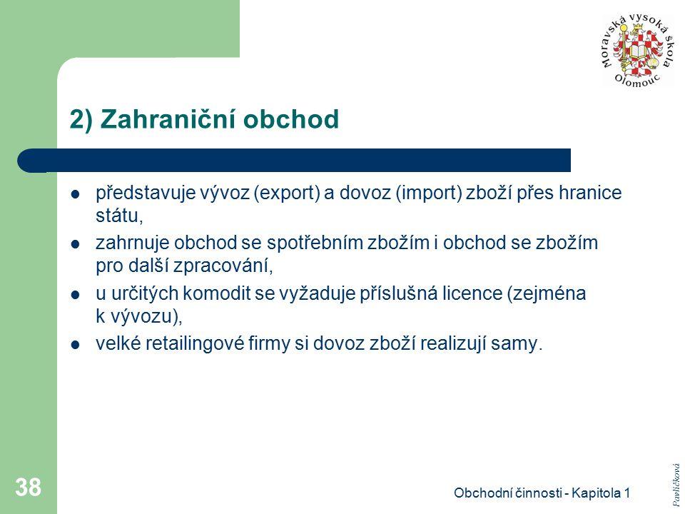 Obchodní činnosti - Kapitola 1 38 2) Zahraniční obchod představuje vývoz (export) a dovoz (import) zboží přes hranice státu, zahrnuje obchod se spotře