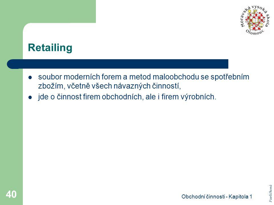 Obchodní činnosti - Kapitola 1 40 Retailing soubor moderních forem a metod maloobchodu se spotřebním zbožím, včetně všech návazných činností, jde o či