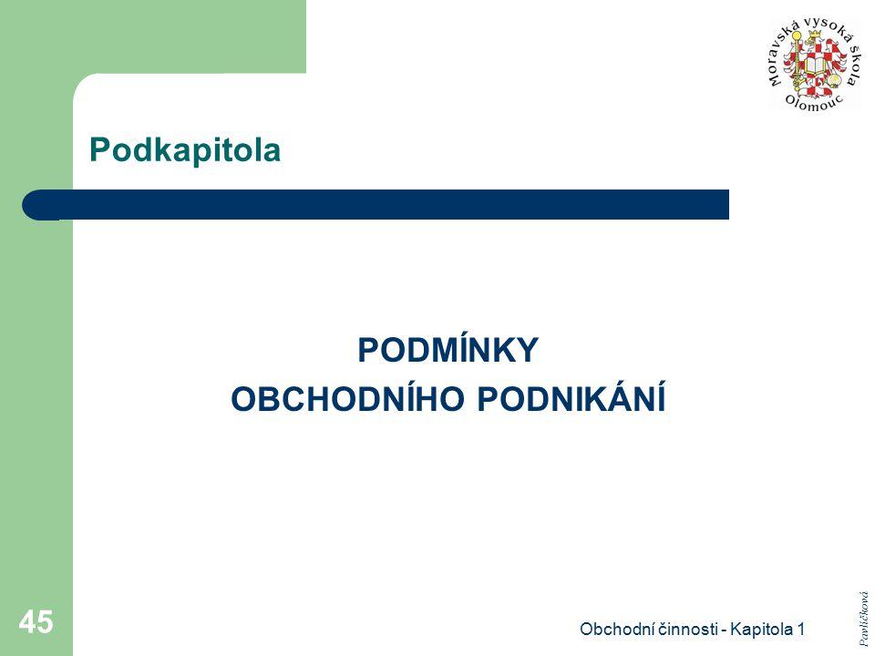 Obchodní činnosti - Kapitola 1 45 Podkapitola PODMÍNKY OBCHODNÍHO PODNIKÁNÍ Pavlíčková