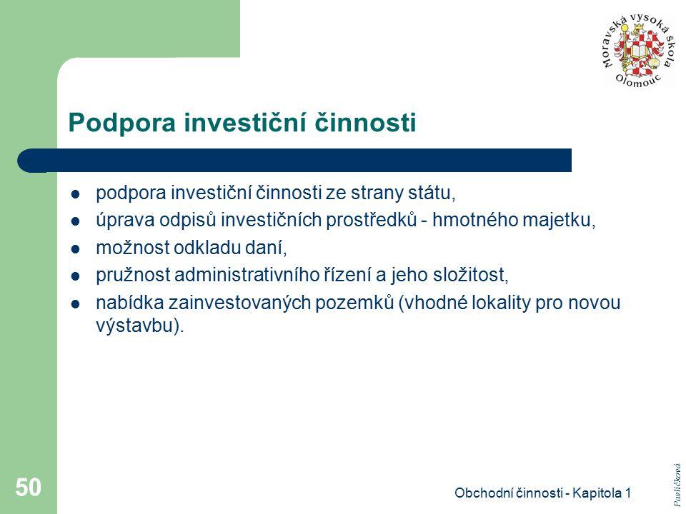 Obchodní činnosti - Kapitola 1 50 Podpora investiční činnosti podpora investiční činnosti ze strany státu, úprava odpisů investičních prostředků - hmo