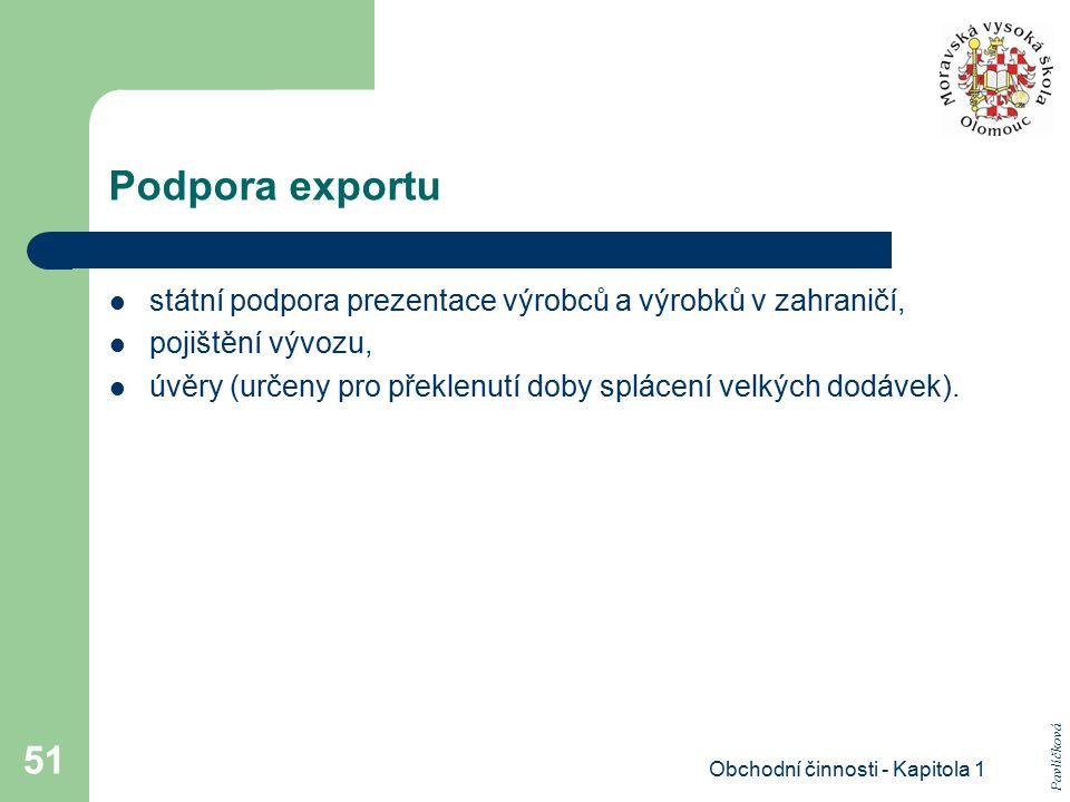 Obchodní činnosti - Kapitola 1 51 Podpora exportu státní podpora prezentace výrobců a výrobků v zahraničí, pojištění vývozu, úvěry (určeny pro překlen