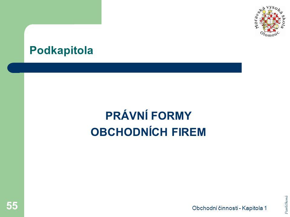 Obchodní činnosti - Kapitola 1 55 Podkapitola PRÁVNÍ FORMY OBCHODNÍCH FIREM Pavlíčková