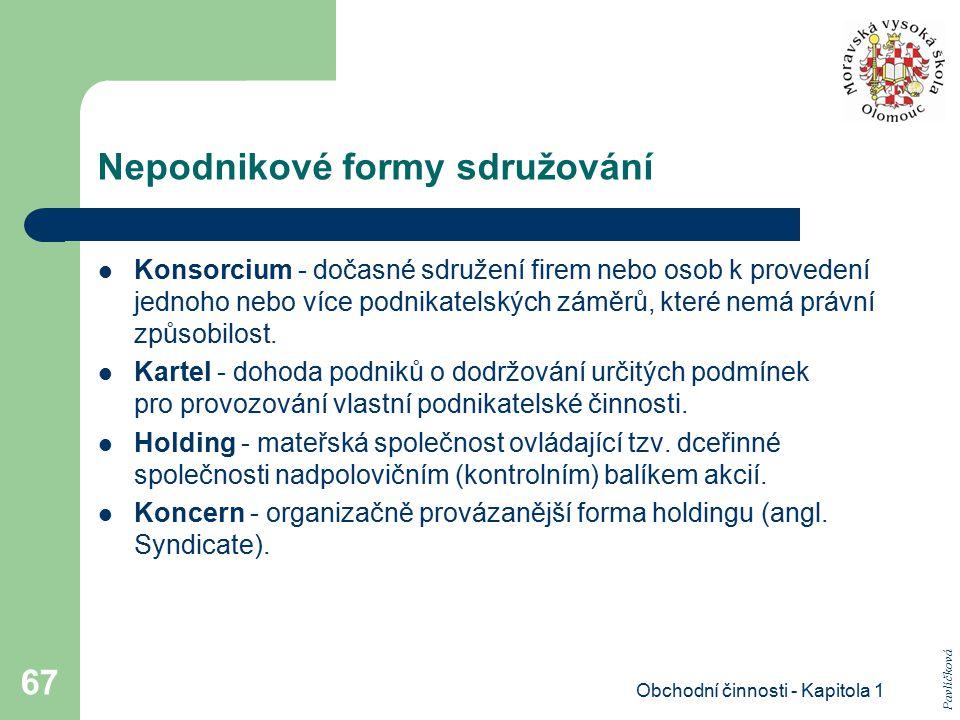 Obchodní činnosti - Kapitola 1 67 Nepodnikové formy sdružování Konsorcium - dočasné sdružení firem nebo osob k provedení jednoho nebo více podnikatels