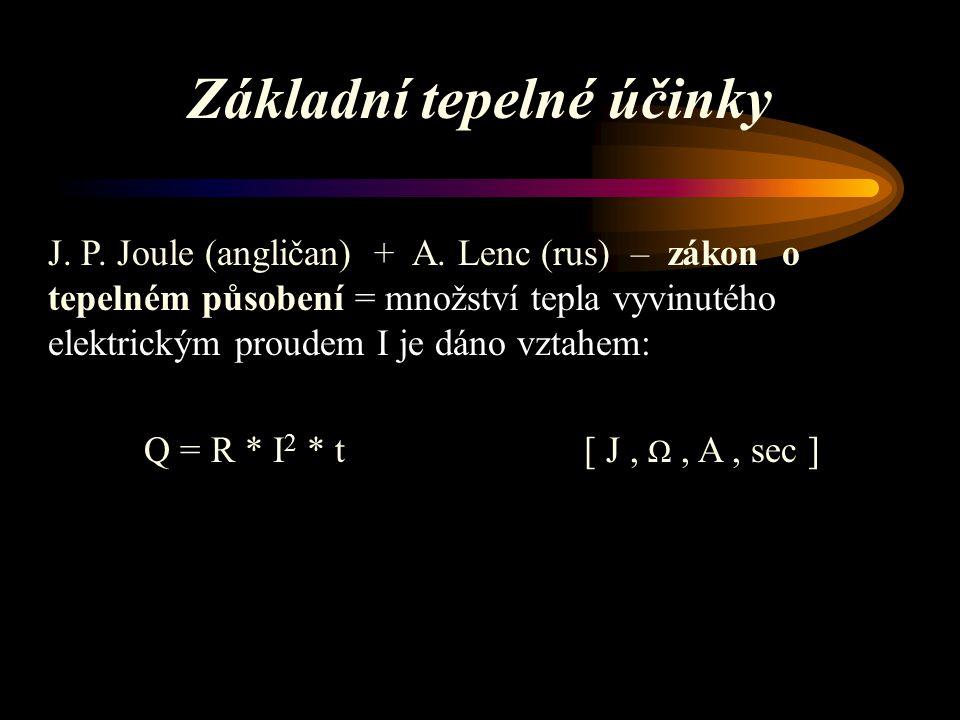 Základní tepelné účinky J.P. Joule (angličan) + A.