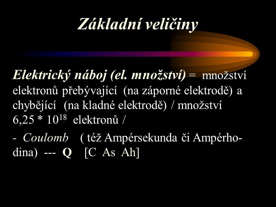 Základní veličiny Elektrický proud = tok elektronů mezi místem s nadbytkem a místem s nedostatkem elektronů - proud 1 Ampéru vyloučí za 1 sekundu 1,118 mg stříbra - Ampér --- I [A ] nebo [C / s]