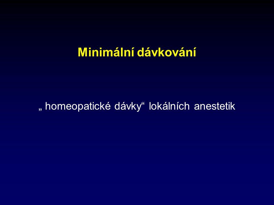 """Minimální dávkování """" homeopatické dávky lokálních anestetik"""