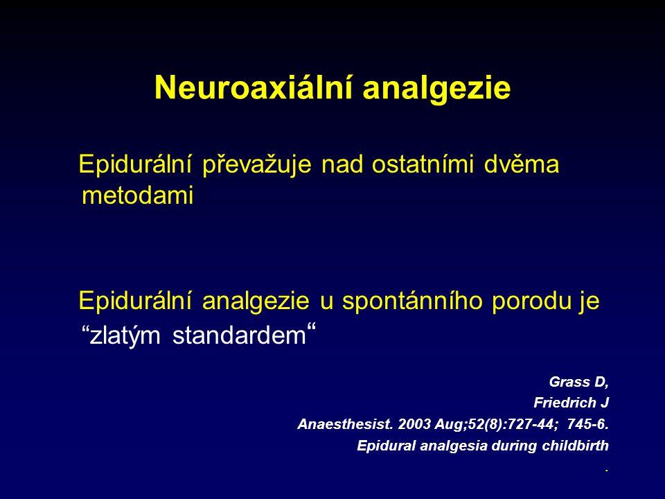 Epidurální převažuje nad ostatními dvěma metodami Epidurální analgezie u spontánního porodu je zlatým standardem Grass D, Friedrich J Anaesthesist.
