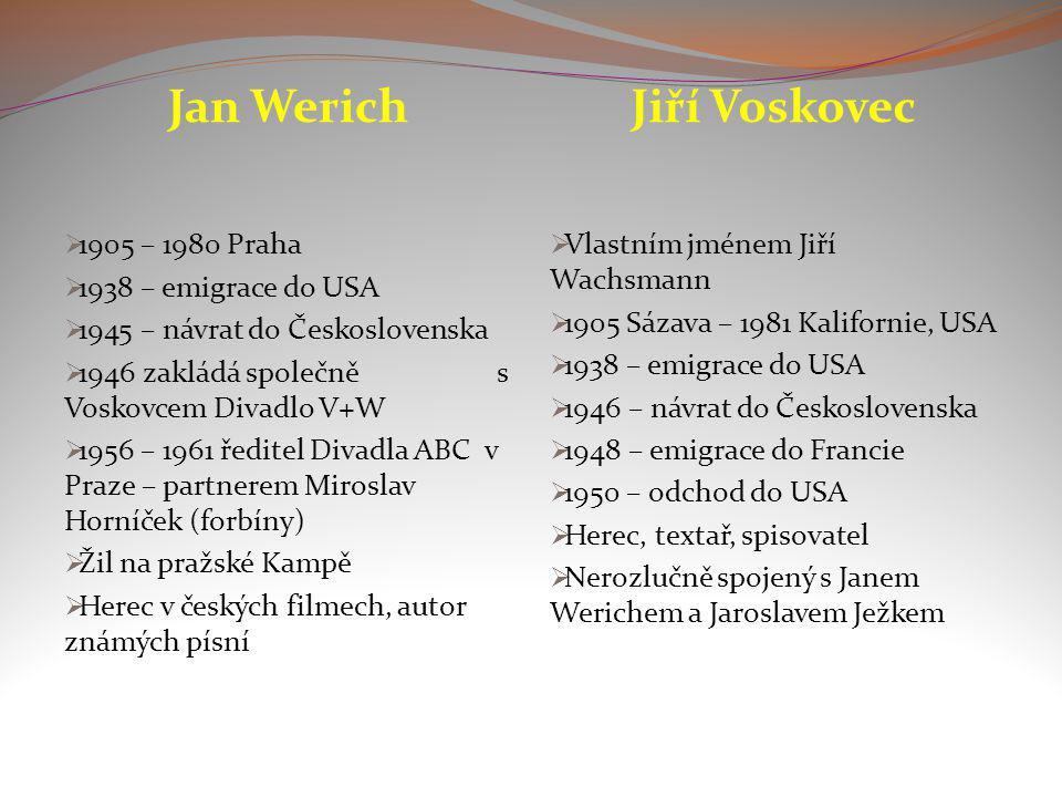 Jan Werich  1905 – 1980 Praha  1938 – emigrace do USA  1945 – návrat do Československa  1946 zakládá společně s Voskovcem Divadlo V+W  1956 – 196