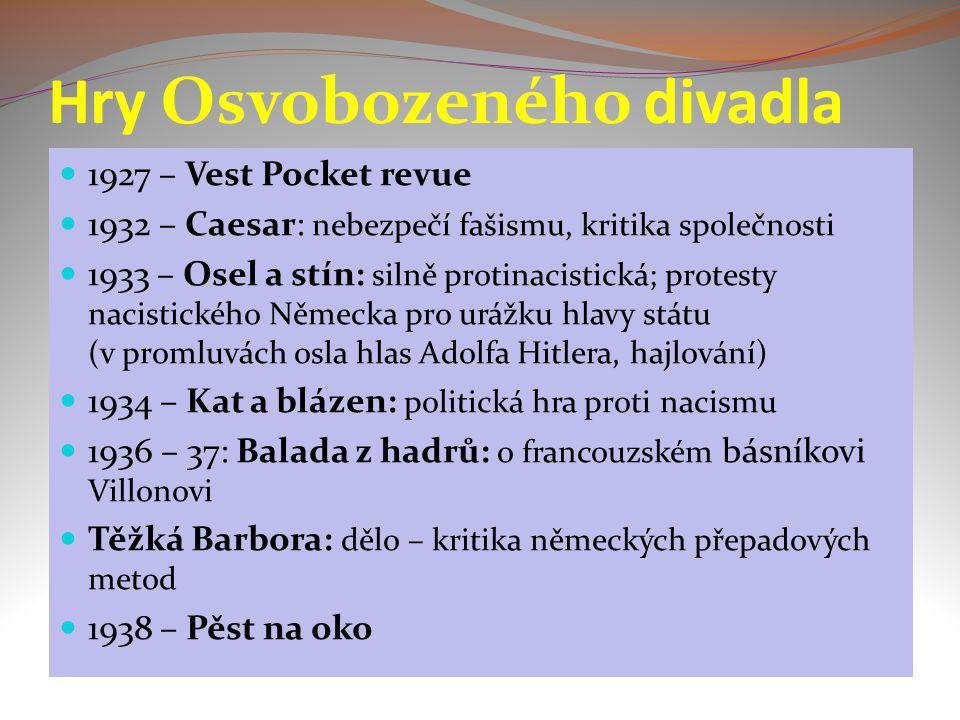 Hry Osvobozeného divadla 1927 – Vest Pocket revue 1932 – Caesar: nebezpečí fašismu, kritika společnosti 1933 – Osel a stín: silně protinacistická; pro