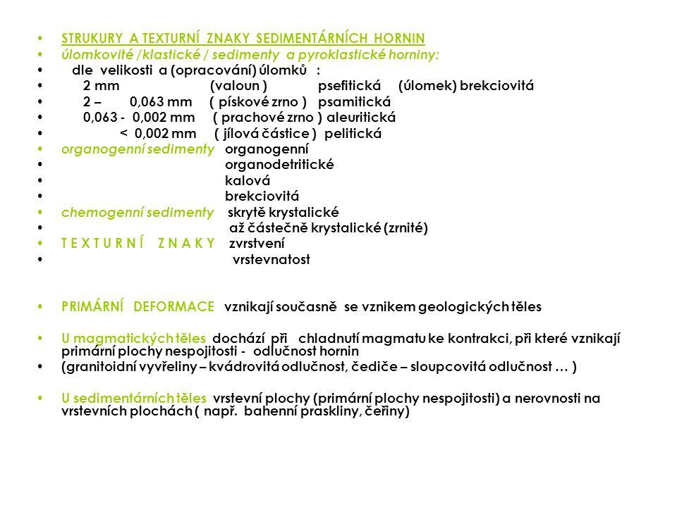 STRUKURY A TEXTURNÍ ZNAKY SEDIMENTÁRNÍCH HORNIN úlomkovité /klastické / sedimenty a pyroklastické horniny: dle velikosti a (opracování) úlomků : 2 mm