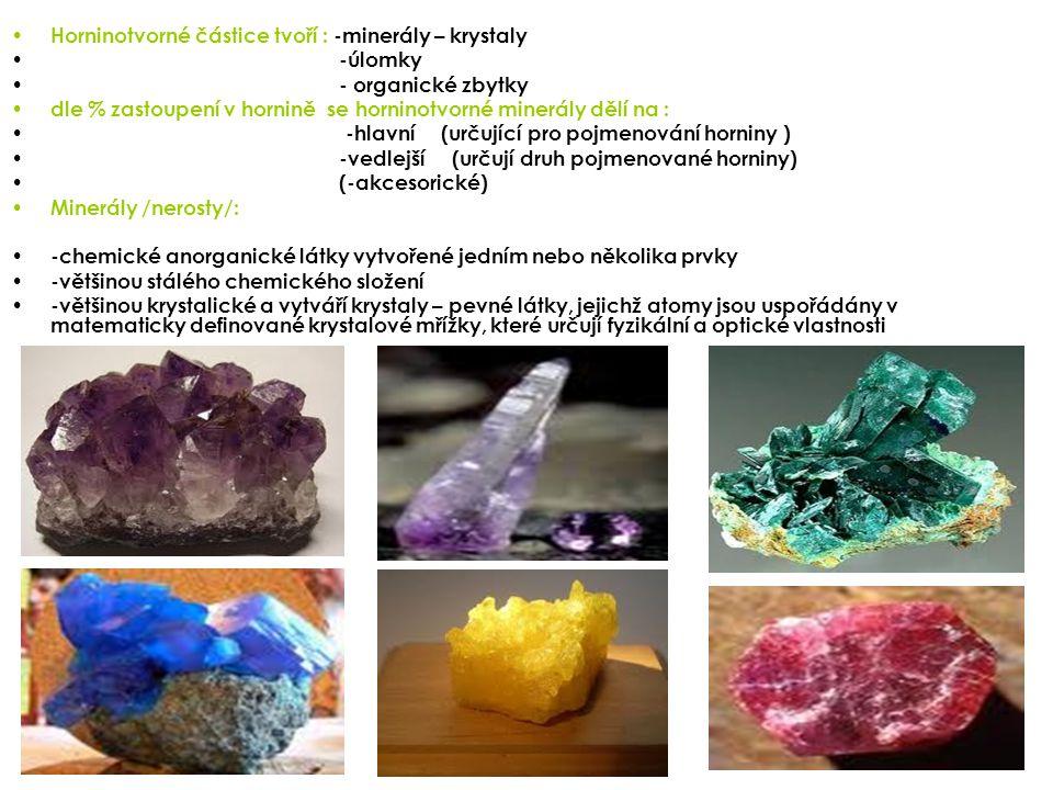 Horninotvorné částice tvoří : -minerály – krystaly -úlomky - organické zbytky dle % zastoupení v hornině se horninotvorné minerály dělí na : -hlavní (