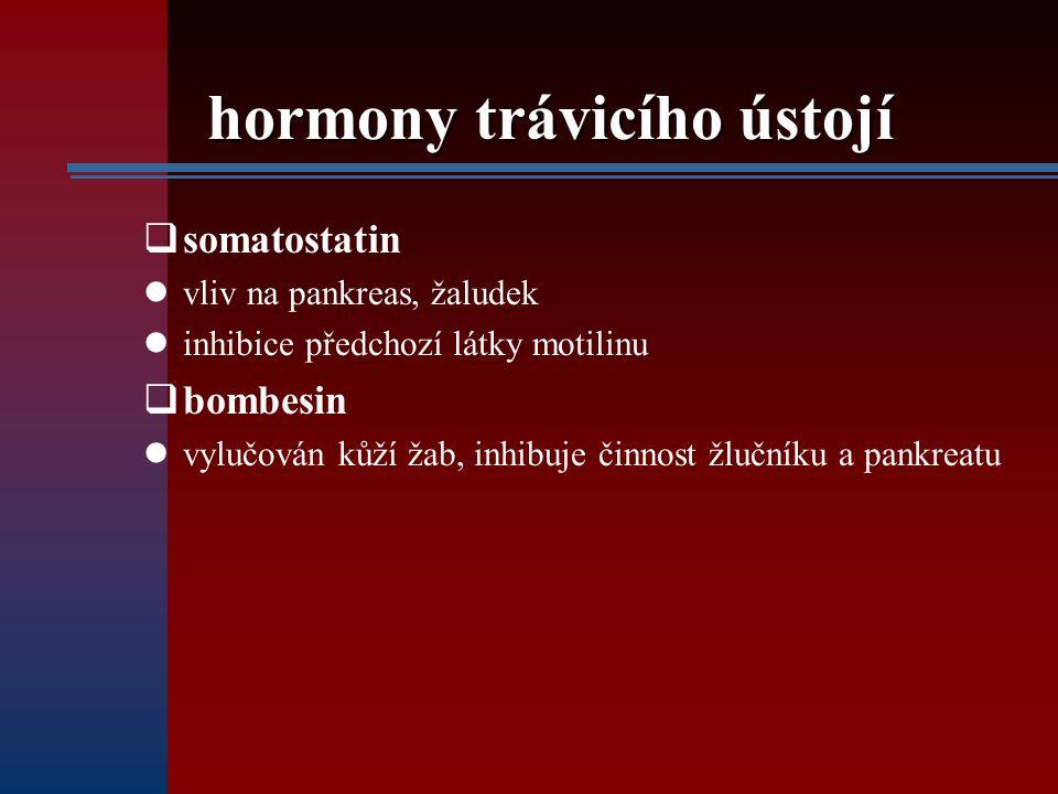 hormony trávicího ústojí  somatostatin vliv na pankreas, žaludek inhibice předchozí látky motilinu  bombesin vylučován kůží žab, inhibuje činnost žl