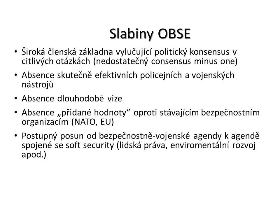 Slabiny OBSE Široká členská základna vylučující politický konsensus v citlivých otázkách (nedostatečný consensus minus one) Absence skutečně efektivní