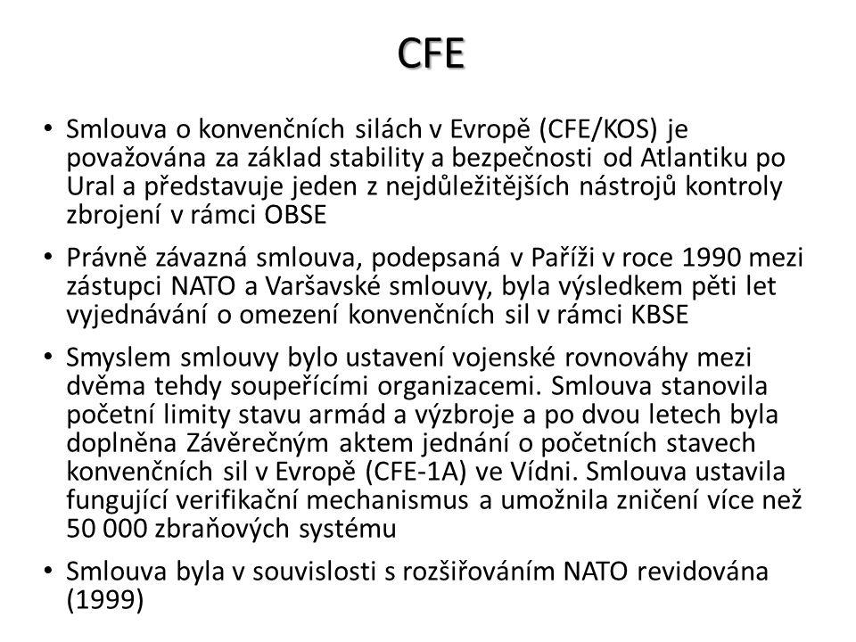CFE Smlouva o konvenčních silách v Evropě (CFE/KOS) je považována za základ stability a bezpečnosti od Atlantiku po Ural a představuje jeden z nejdůle