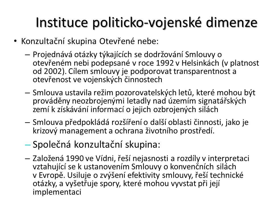 Instituce politicko-vojenské dimenze Konzultační skupina Otevřené nebe: – Projednává otázky týkajících se dodržování Smlouvy o otevřeném nebi podepsan
