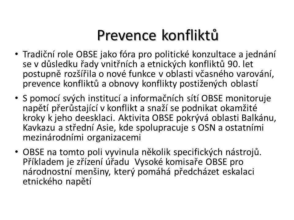 Prevence konfliktů Tradiční role OBSE jako fóra pro politické konzultace a jednání se v důsledku řady vnitřních a etnických konfliktů 90. let postupně