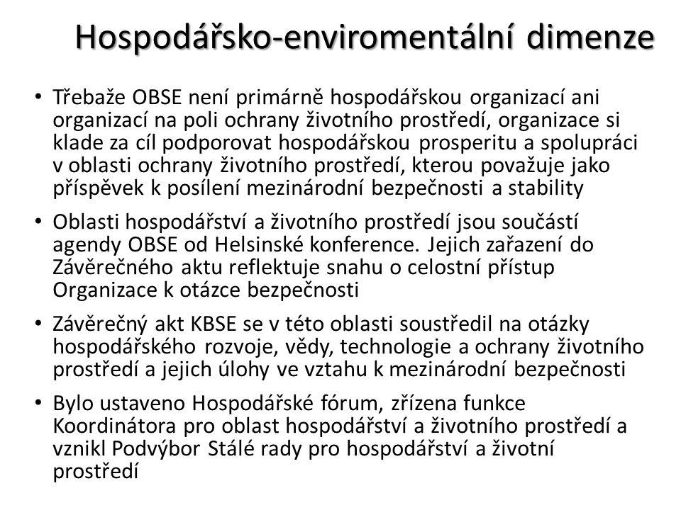 Hospodářsko-enviromentální dimenze Třebaže OBSE není primárně hospodářskou organizací ani organizací na poli ochrany životního prostředí, organizace s