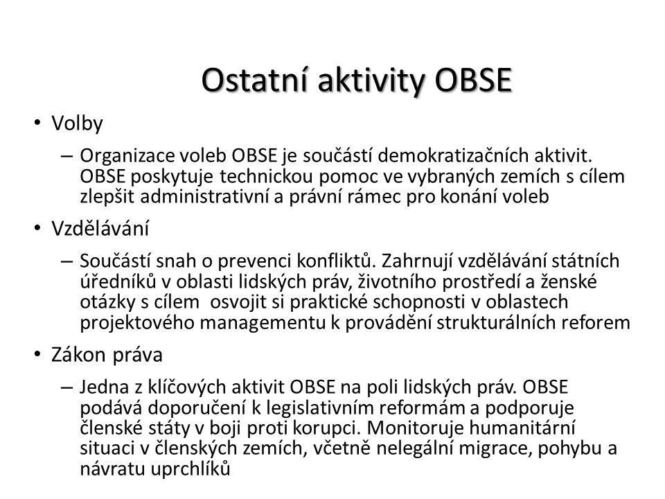Ostatní aktivity OBSE Volby – Organizace voleb OBSE je součástí demokratizačních aktivit. OBSE poskytuje technickou pomoc ve vybraných zemích s cílem