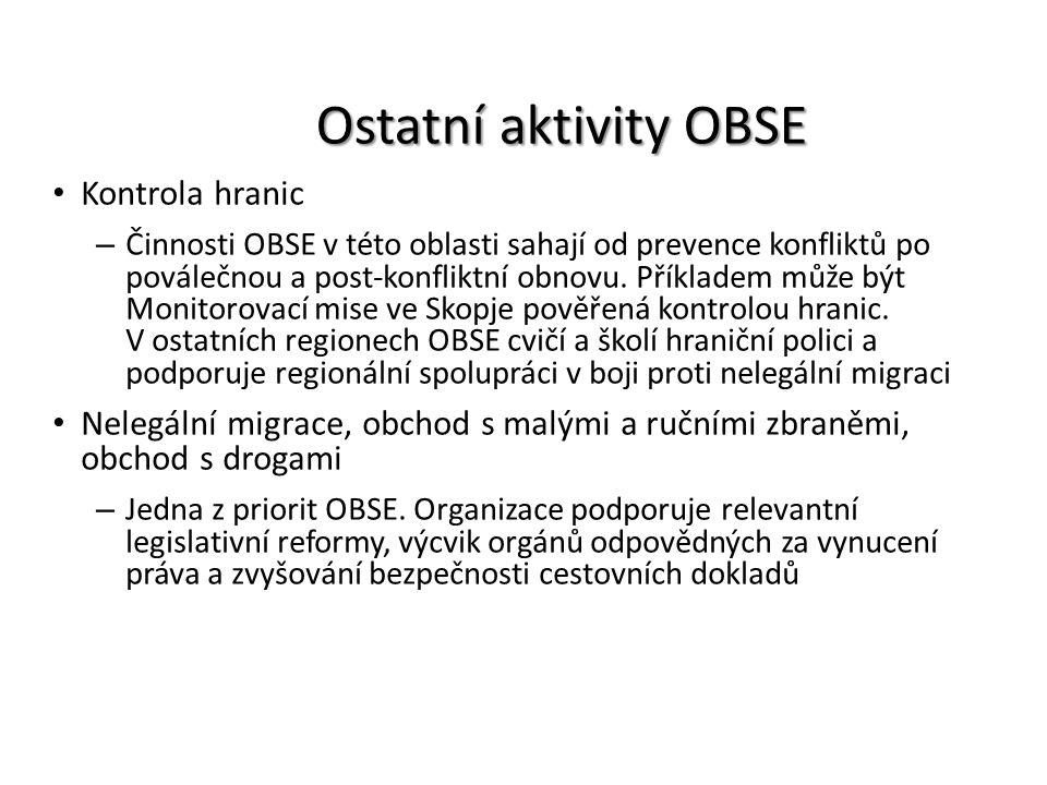 Ostatní aktivity OBSE Kontrola hranic – Činnosti OBSE v této oblasti sahají od prevence konfliktů po poválečnou a post-konfliktní obnovu. Příkladem mů