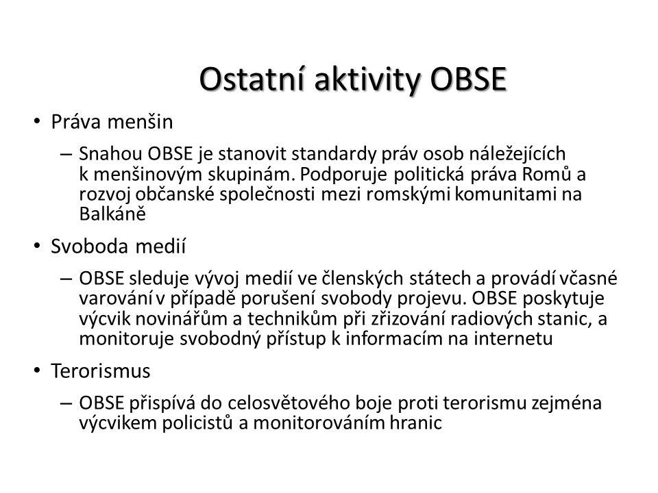 Ostatní aktivity OBSE Práva menšin – Snahou OBSE je stanovit standardy práv osob náležejících k menšinovým skupinám. Podporuje politická práva Romů a