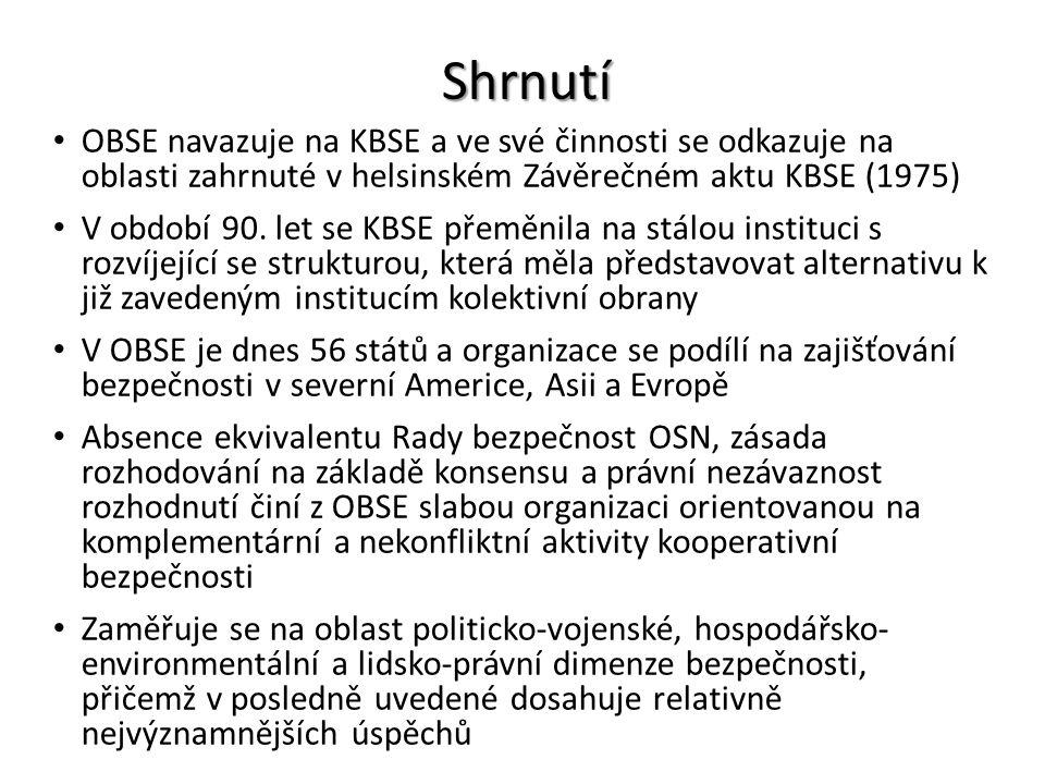 Shrnutí OBSE navazuje na KBSE a ve své činnosti se odkazuje na oblasti zahrnuté v helsinském Závěrečném aktu KBSE (1975) V období 90. let se KBSE přem