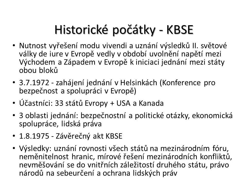 Historické počátky - KBSE Nutnost vyřešení modu vivendi a uznání výsledků II. světové války de iure v Evropě vedly v období uvolnění napětí mezi Výcho
