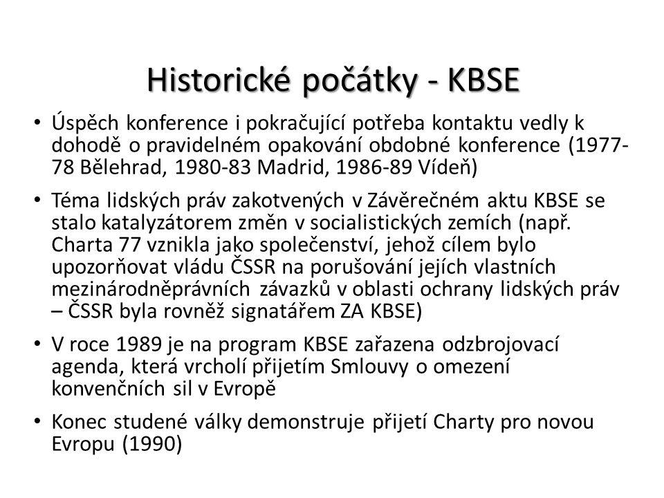 Historické počátky - KBSE Úspěch konference i pokračující potřeba kontaktu vedly k dohodě o pravidelném opakování obdobné konference (1977- 78 Bělehra
