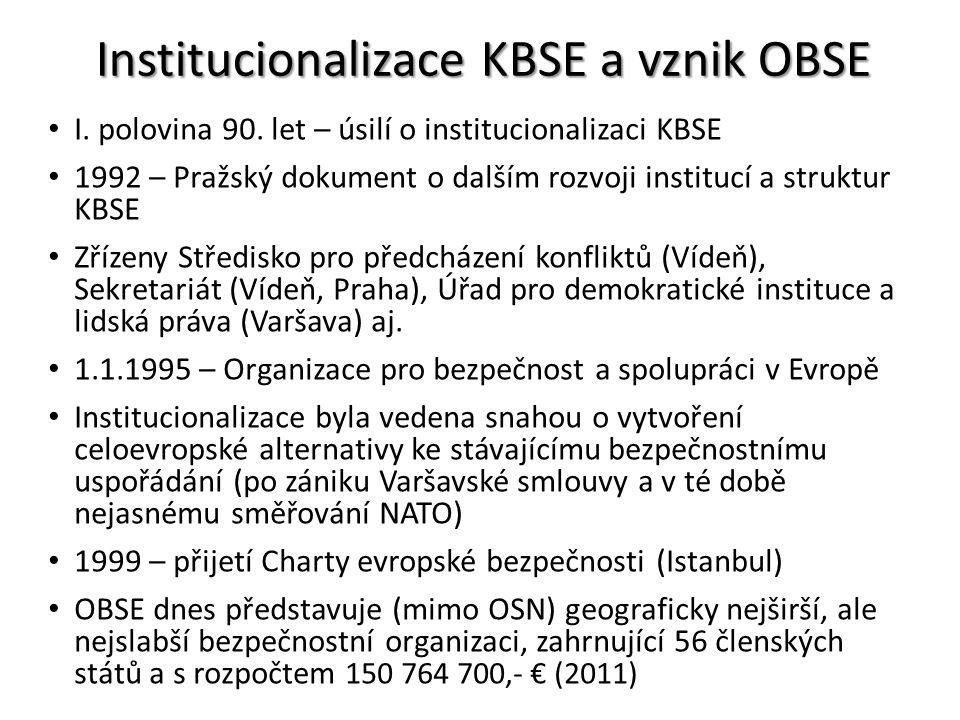 Institucionalizace KBSE a vznik OBSE I. polovina 90. let – úsilí o institucionalizaci KBSE 1992 – Pražský dokument o dalším rozvoji institucí a strukt