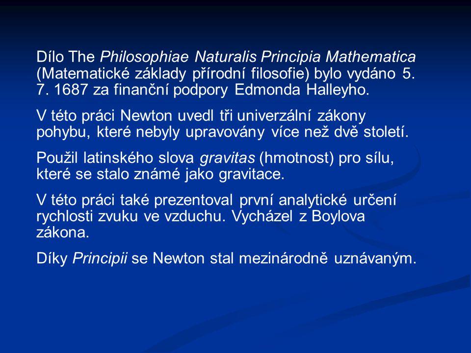 Dílo The Philosophiae Naturalis Principia Mathematica (Matematické základy přírodní filosofie) bylo vydáno 5.