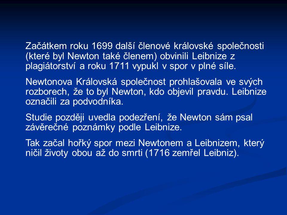 Začátkem roku 1699 další členové královské společnosti (které byl Newton také členem) obvinili Leibnize z plagiátorství a roku 1711 vypukl v spor v plné síle.