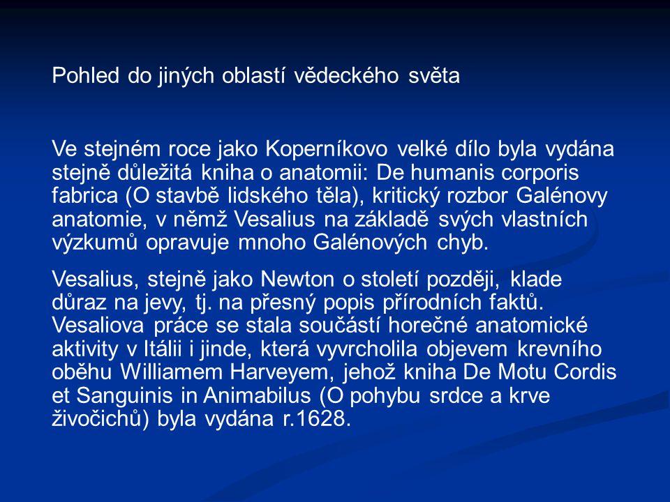 Pohled do jiných oblastí vědeckého světa Ve stejném roce jako Koperníkovo velké dílo byla vydána stejně důležitá kniha o anatomii: De humanis corporis fabrica (O stavbě lidského těla), kritický rozbor Galénovy anatomie, v němž Vesalius na základě svých vlastních výzkumů opravuje mnoho Galénových chyb.