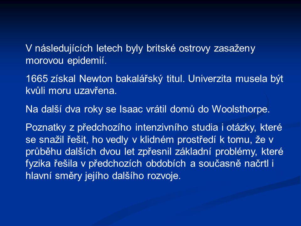 V následujících letech byly britské ostrovy zasaženy morovou epidemií. 1665 získal Newton bakalářský titul. Univerzita musela být kvůli moru uzavřena.