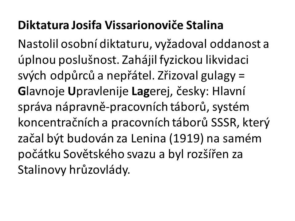 Diktatura Josifa Vissarionoviče Stalina Nastolil osobní diktaturu, vyžadoval oddanost a úplnou poslušnost. Zahájil fyzickou likvidaci svých odpůrců a
