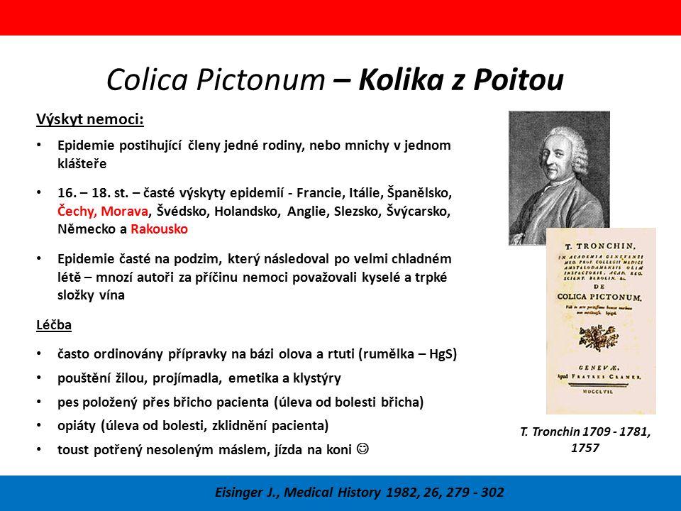 Colica Pictonum – Kolika z Poitou Eisinger J., Medical History 1982, 26, 279 - 302 Výskyt nemoci: Epidemie postihující členy jedné rodiny, nebo mnichy