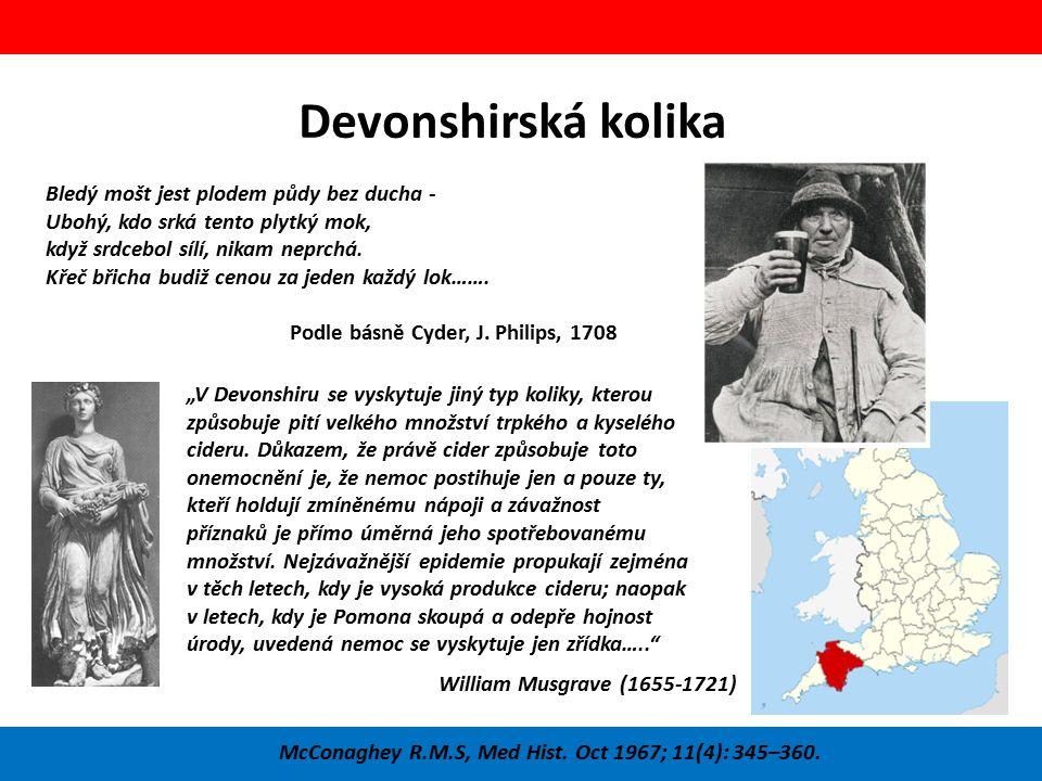 Devonshirská kolika McConaghey R.M.S, Med Hist. Oct 1967; 11(4): 345–360. Bledý mošt jest plodem půdy bez ducha - Ubohý, kdo srká tento plytký mok, kd