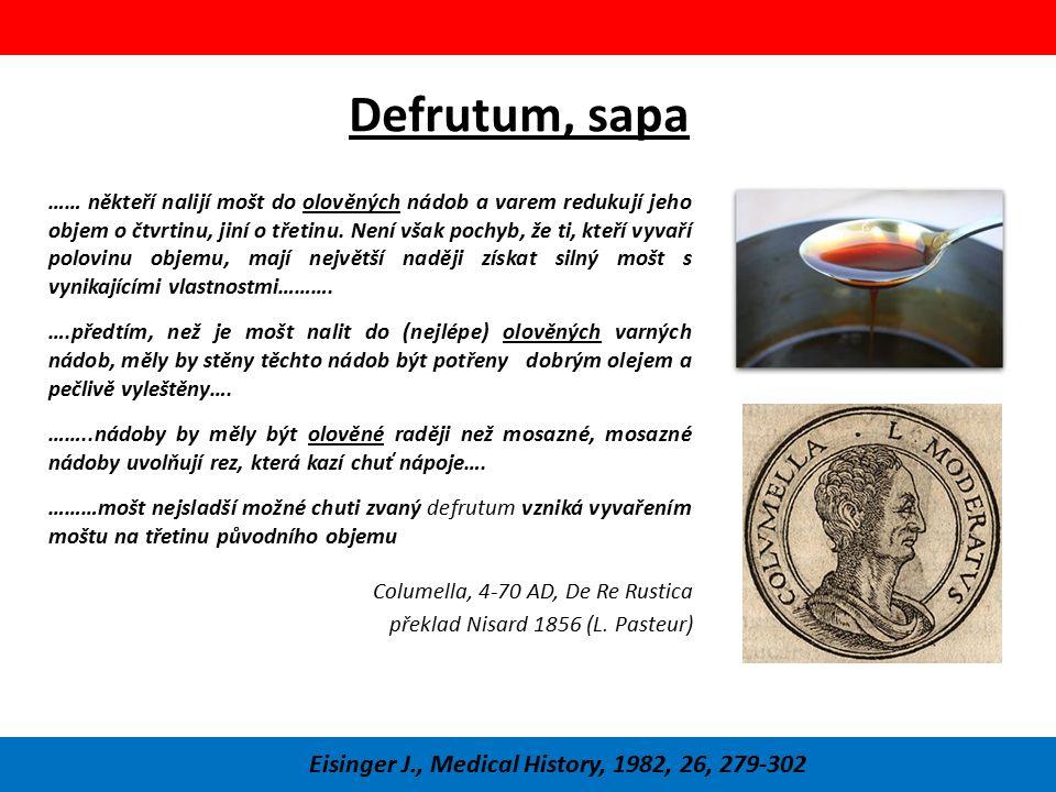 Defrutum, sapa …… někteří nalijí mošt do olověných nádob a varem redukují jeho objem o čtvrtinu, jiní o třetinu. Není však pochyb, že ti, kteří vyvaří
