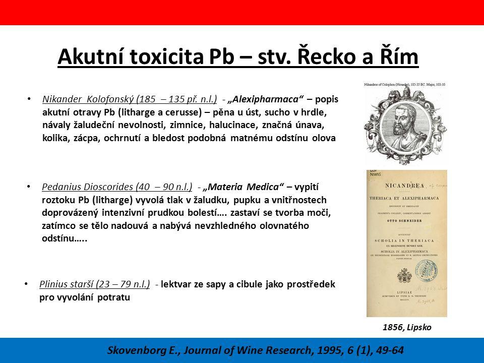 Akutní toxicita Pb – stv. Řecko a Řím Skovenborg E., Journal of Wine Research, 1995, 6 (1), 49-64 Plinius starší (23 – 79 n.l.) - lektvar ze sapy a ci