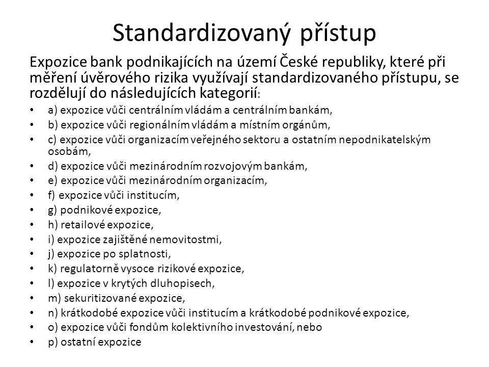 Standardizovaný přístup Expozice bank podnikajících na území České republiky, které při měření úvěrového rizika využívají standardizovaného přístupu,