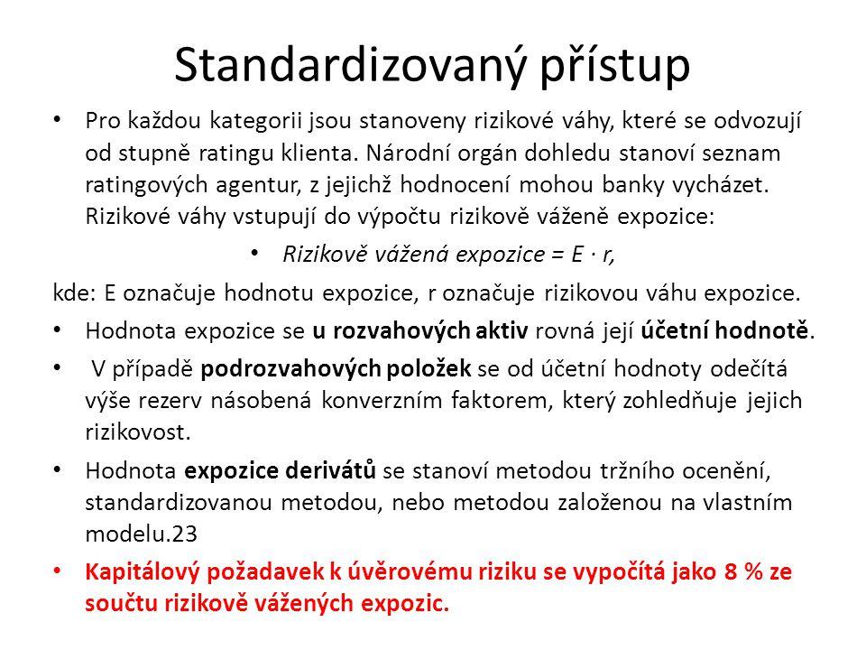 Standardizovaný přístup Pro každou kategorii jsou stanoveny rizikové váhy, které se odvozují od stupně ratingu klienta. Národní orgán dohledu stanoví