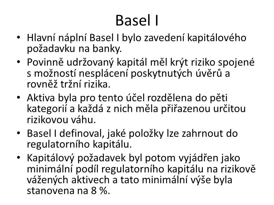 Basel I Hlavní náplní Basel I bylo zavedení kapitálového požadavku na banky. Povinně udržovaný kapitál měl krýt riziko spojené s možností nesplácení p