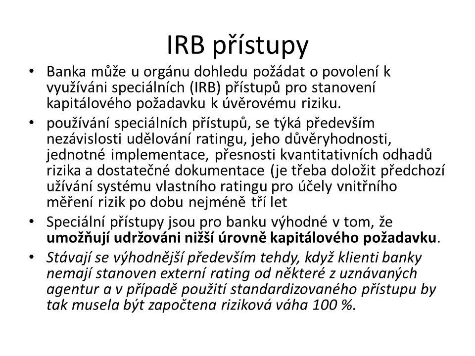 IRB přístupy Banka může u orgánu dohledu požádat o povolení k využíváni speciálních (IRB) přístupů pro stanovení kapitálového požadavku k úvěrovému ri