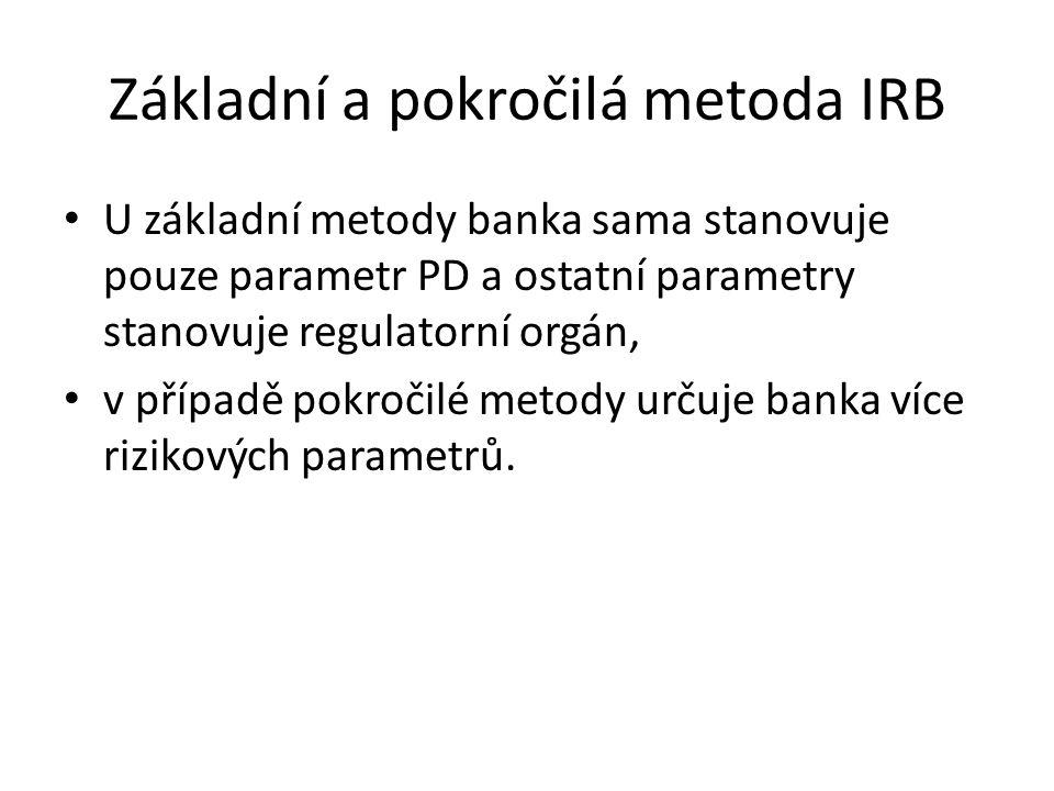 Základní a pokročilá metoda IRB U základní metody banka sama stanovuje pouze parametr PD a ostatní parametry stanovuje regulatorní orgán, v případě po