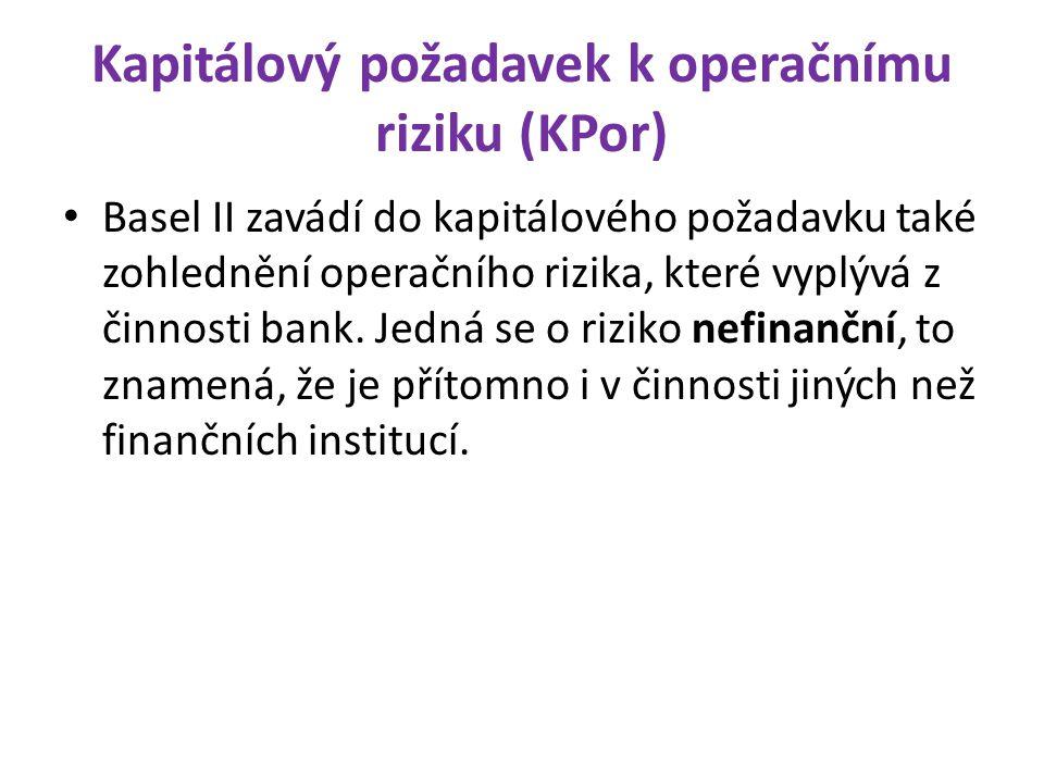 Kapitálový požadavek k operačnímu riziku (KPor) Basel II zavádí do kapitálového požadavku také zohlednění operačního rizika, které vyplývá z činnosti
