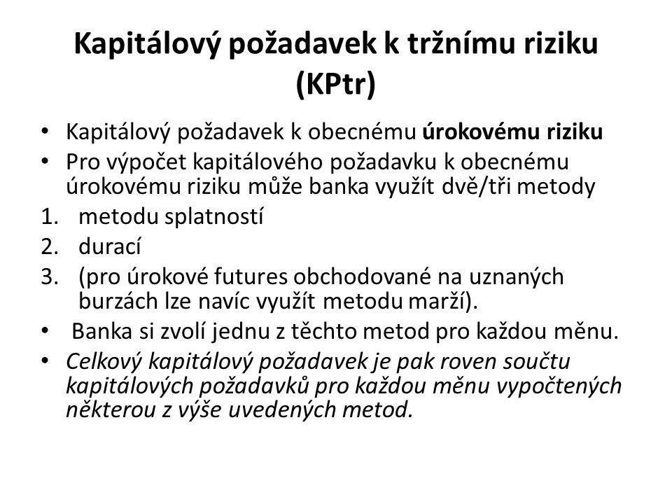 Kapitálový požadavek k tržnímu riziku (KPtr) Kapitálový požadavek k obecnému úrokovému riziku Pro výpočet kapitálového požadavku k obecnému úrokovému