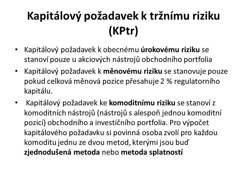 Kapitálový požadavek k tržnímu riziku (KPtr) Kapitálový požadavek k obecnému úrokovému riziku se stanoví pouze u akciových nástrojů obchodního portfol