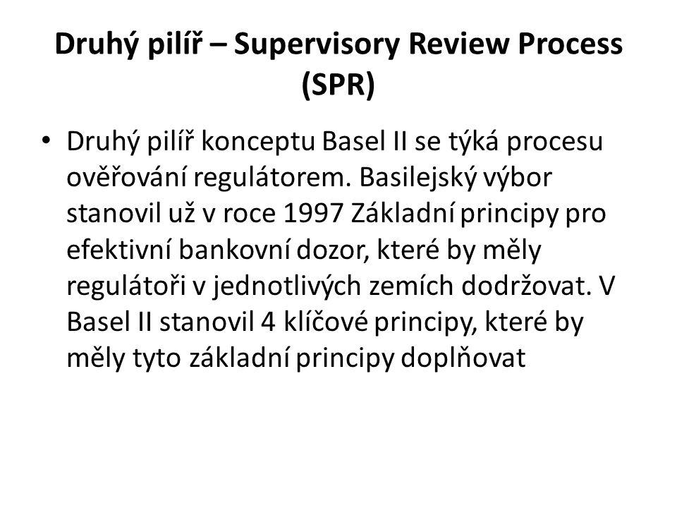Druhý pilíř – Supervisory Review Process (SPR) Druhý pilíř konceptu Basel II se týká procesu ověřování regulátorem. Basilejský výbor stanovil už v roc