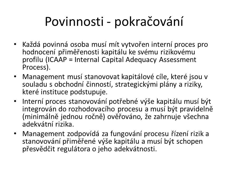 Povinnosti - pokračování Každá povinná osoba musí mít vytvořen interní proces pro hodnocení přiměřenosti kapitálu ke svému rizikovému profilu (ICAAP =