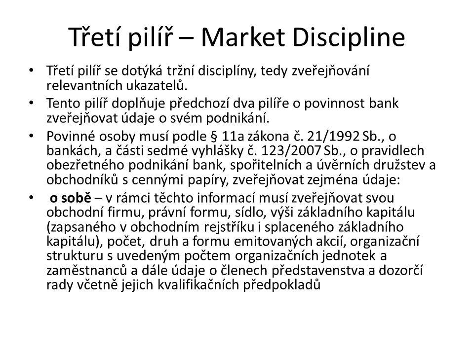 Třetí pilíř – Market Discipline Třetí pilíř se dotýká tržní disciplíny, tedy zveřejňování relevantních ukazatelů. Tento pilíř doplňuje předchozí dva p