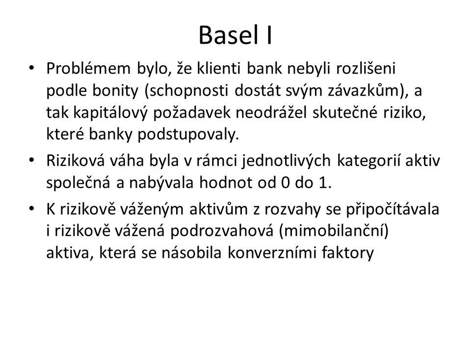 Basel I Problémem bylo, že klienti bank nebyli rozlišeni podle bonity (schopnosti dostát svým závazkům), a tak kapitálový požadavek neodrážel skutečné